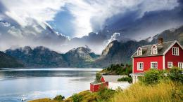 » Nature » Mountains » Beautiful houses norway hd wallpaper 686