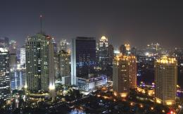 Jakarta Modern City Building Night Indonesia Desktop Wallpaper