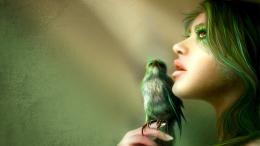 green bird girl hd wallpaper you are viewing the abstract wallpaper