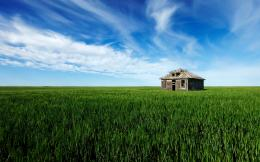 Old House Grass Field HD Wallpapers