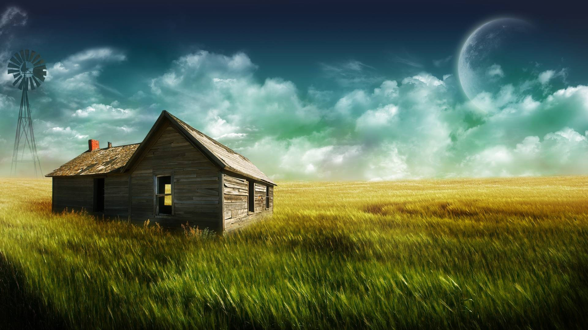 Desktop Huts In The Field Landscape Wallpaper and make this wallpaper 573