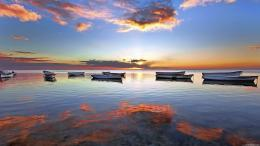 Awesome Boats at beach Sunset HD Wallpaper