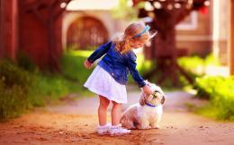 Baby Girl Friendship with Dog hd wallpapers 1865