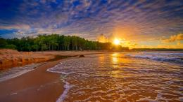 Baltic sea sunset forest beach waves sand 740