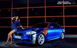 Blue, BMW Wallpaper, bmw, M5, girl, legs, nfs, most wanted, smotra 502