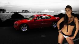 Car Girl Beauty Dodge Charger Hd Wallpaper with 1366x768 Resolution 1650