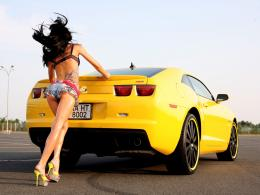 Sports Car With Girl HD Wallpaper 604