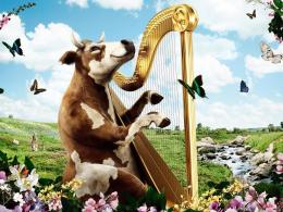 Funny Cow Harp Desktop Background 1061