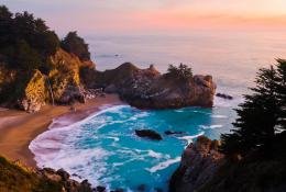 The thin stream of McWay Falls takes backseat to the dramatic rocky 1410