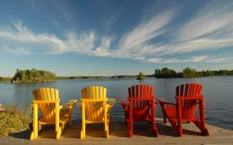 Red & yellow Muskoka chairs 1849