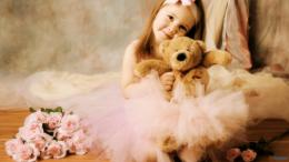Cute Little Baby Girl With Teddy Bear And Rose Flowers HD Wallpaper 1160