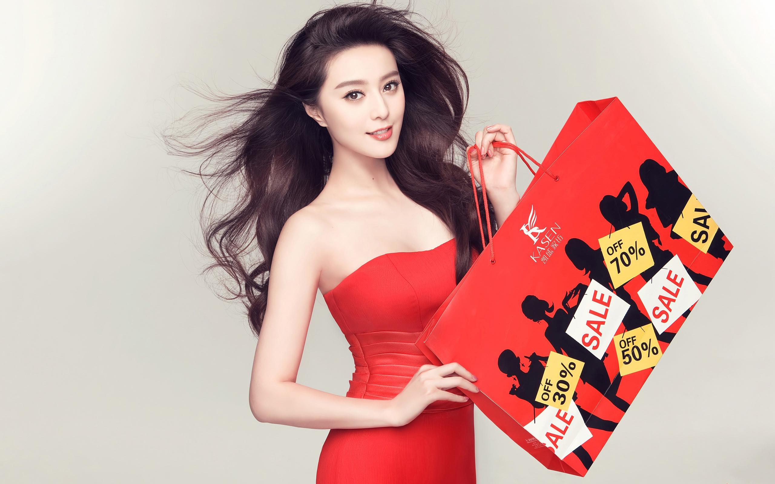 33 cute asian star in red dres...