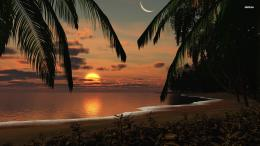 Fantasy Moon Sky Cloud Palm Ocean Sunset Sand 958