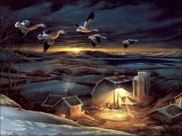 Snow Animated 3D Fantasy Wallpaper Birds Sunset Beautiful Houses 290