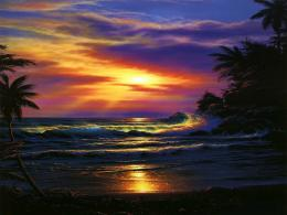 Jamaica Fantasy Waves Beach Clouds Ocean Sky Sunset Wallpaper with 572