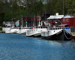 Four Commercial Fishing Boats Dock HD Wallpaper 432