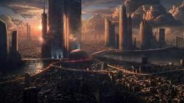 Red and Black Futuristic City Wallpaper 1578