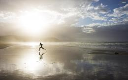 Beaches Sunrise Silhouette Sea Dawn Running 977