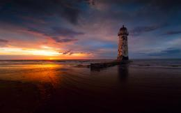 Lighthouse Sea Sunset HD Wallpapers 1233