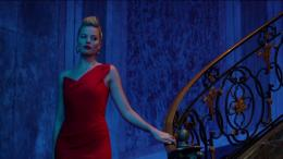 Margot Robbie in Red Dress and Beautiful Hair Style in Focus Movie 671