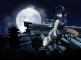 ninja girl katana scarf 1492 hd wallpaper ninja girl anime full moon 523