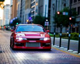 Wallpaper Nissan plum, nissan silvia s14, city, street, tuning, cars 1691