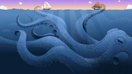 Giant octopus attacking the ships wallpaper 1280x800 Giant octopus 1856