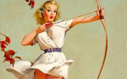 Gil Elvgren bow and arrow vintage pinup wallpaper 1937