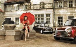 Retro girl with vintage Mini Coopers wallpaper 1397