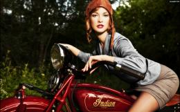 Girl on a Indian retro motorcycle wallpapers and imageswallpapers 377
