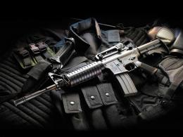 M16 assault rifle with bullet proof vest hd gun desktop wallpaper 1634