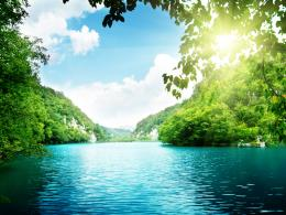 Sunshine Between Leaves River and Green Mountains HD Wallpaper 985