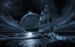:Ocean seas stars pirate ship moon ships vehicles HD Wallpapers jpg 1447