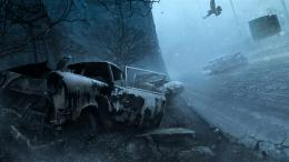 silent hill welcome to silent hill the night cars snow winter birds 491