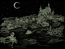 Skeleton looking over a haunted bay castle HD Wallpaper 143