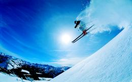 Ski Snowboard Skis Jumping Snow Dust HD Wallpaper 1980