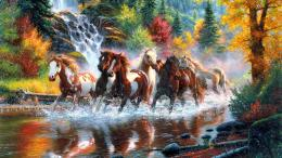 "This ""Herd Of Wild Horses In River\"" Wallpaper #38402 have 1920x1080 px 1106"