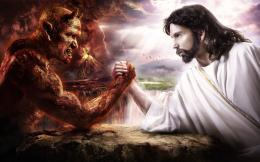 Arm Wrestling God And Devil HD Wallpaper 672