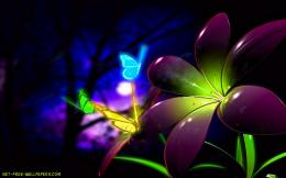 Download Fluorescent 3D Flowers Wallpaper 1624