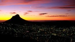 Cape Town, South Africa, City, Night, Light, Sunrise, Clouds, World 732