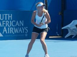 Caroline Wozniacki Tennis Player Playing In Pink Adidas Equipment 1524