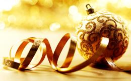Christmas Ornaments Golden Balls Ribbon HD Wallpaper 110