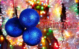 on the Christmas Tree Blue Christmas Greetings Wishes Quotes Wallpaper 577