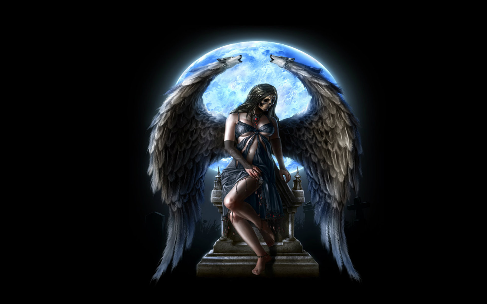 3 Dark Angel 2 Skull Black Gothic Wings Moon Hd Wallpaper 617