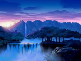 dream trees waterfalls waterfall sunset sunrise wallpaper background 1379