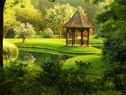 European gazebo trees quiet emerald lovely HD Wallpaper 1317