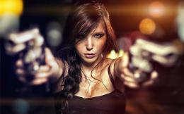 Beauty Girl Guns HD Wallpaper 875