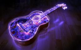 Lighted Guitar, 3D, Desktop, HD Wallpaper wallpapers 1208