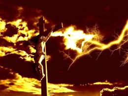 dramatic lightning over Christ on the crossdesktop wallpaper image 889