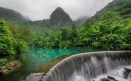 Beautiful jungle waterfall river mountains 1558